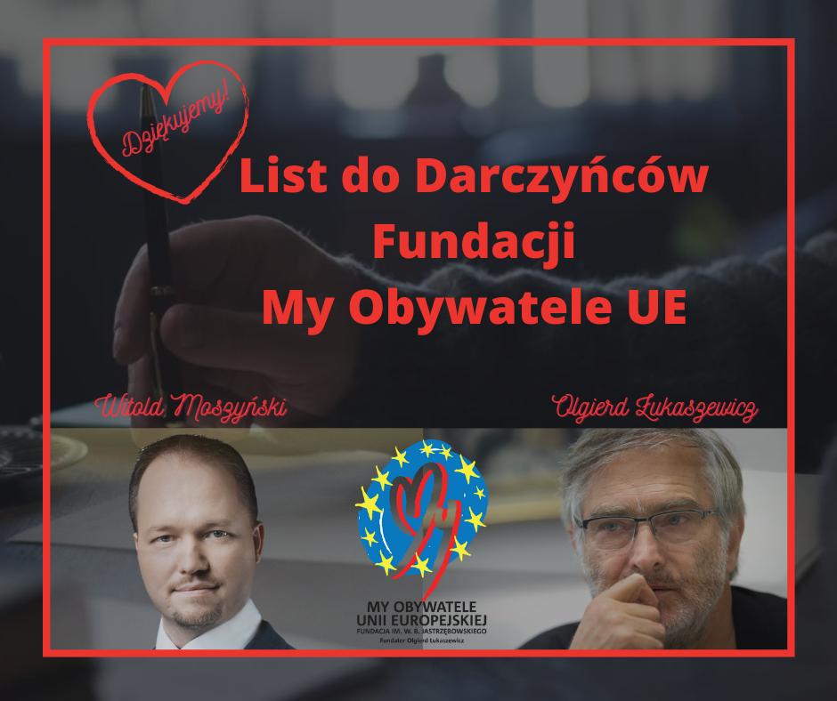 List do Darczyńców Fundacji